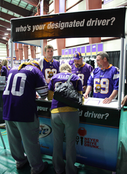 Minnesotans for Safe Driving Volunteers at Vikings Designated Driver booth